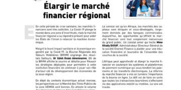 EDITORIAL : Élargir le marché financier régional