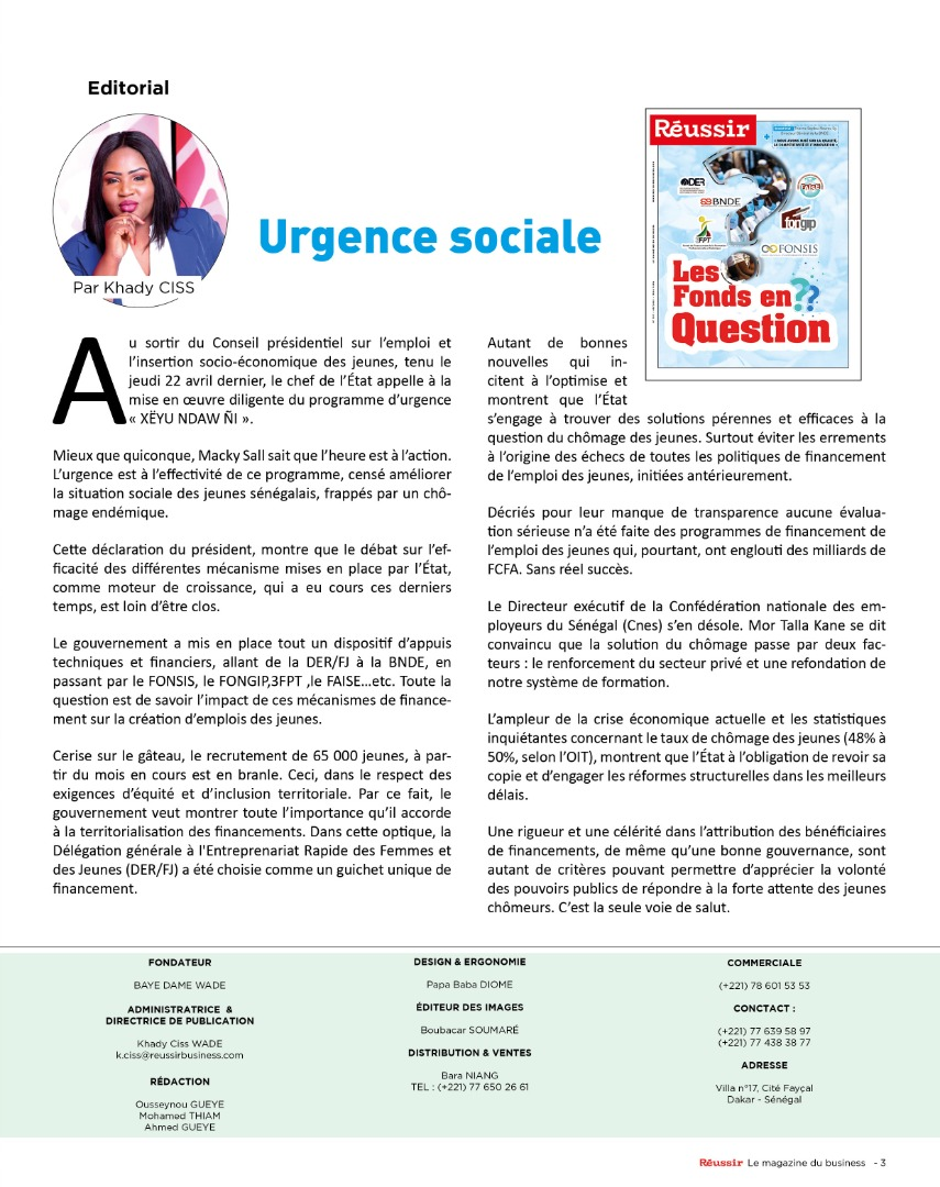 Editorial : Urgence sociale